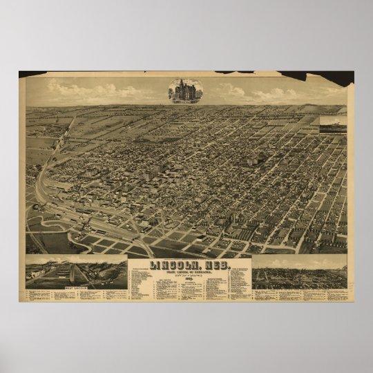 1889 Lincoln, NE Birds Eye View Panoramic Map Poster