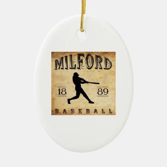 1889 Milford Delaware Baseball Ceramic Ornament