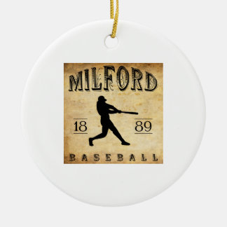1889 Milford Delaware Baseball Double-Sided Ceramic Round Christmas Ornament