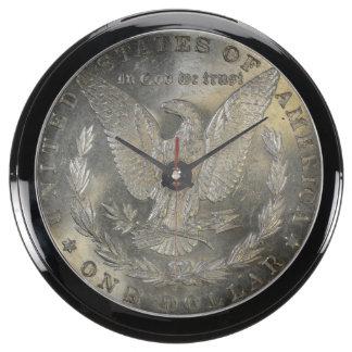1889 Morgan Silver Dollar Tail Fish Tank Clocks