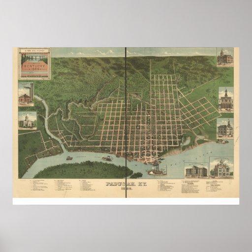 1889 Paducah, KY Birds Eye View Panoramic Map Poster