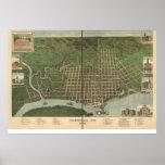 1889 Paducah, mapa panorámico de la opinión de ojo Posters