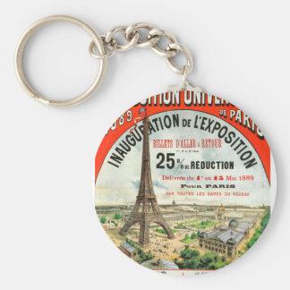 1889 Paris world Fair Eiffel Tower Vintage poster Keychains