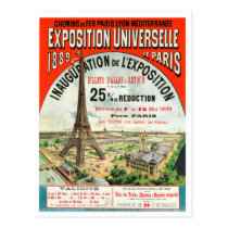 1889 Paris world Fair Eiffel Tower Vintage poster Postcard