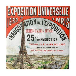 1889 Paris world Fair Eiffel Tower Vintage poster Small Square Tile