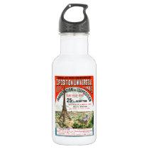 1889 Paris world Fair Eiffel Tower Vintage poster Water Bottle