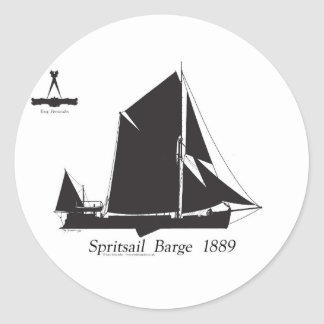 1889 spritsail barge - tony fernandes classic round sticker
