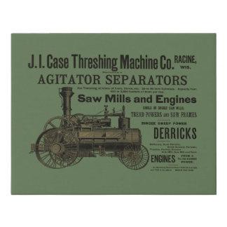 1889 Threshing Machine Steam Engine Farm Farming Faux Canvas Print