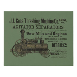 1889 Threshing Machine Steam Engine Farm Farming Faux Canvas Print
