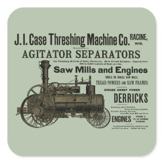 1889 Threshing Machine Steam Engine Farm Farming Square Sticker