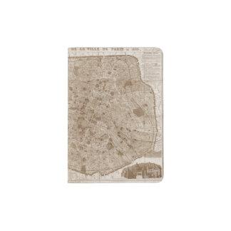 1889 Vintage Paris Map Passport Holder