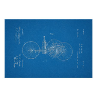 1889 Vintage Steam Tricycle Patent Blueprint Art Poster