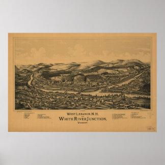1889 West Lebanon, NH White River Junction, VT Map Print