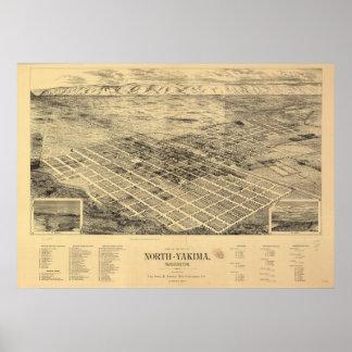1889 Yakima del norte, mapa panorámico de la opini Póster