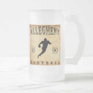 1890 Allegheny Pennsylvania Football Frosted Glass Beer Mug