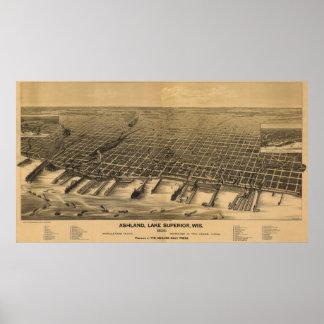 1890 Ashland, WI Birds Eye View Panoramic Map Poster