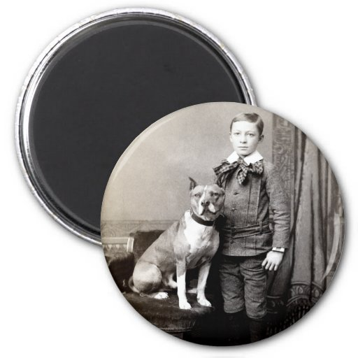 1890 Boy and his American Staffordshire Terrier 2 Inch Round Magnet