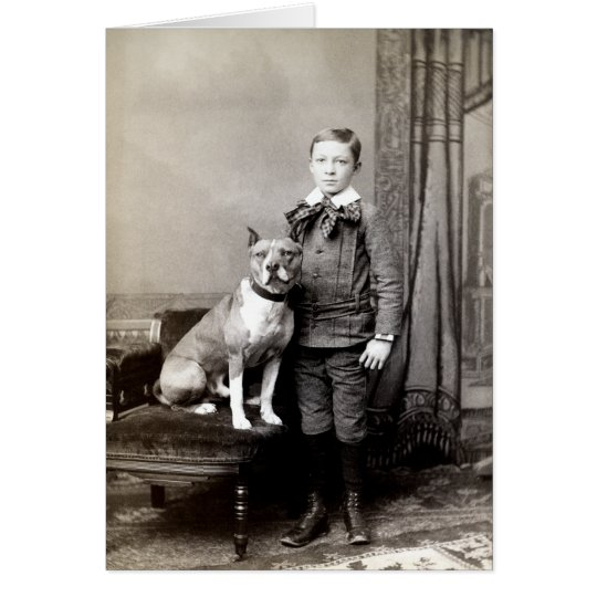 1890 Boy and his American Staffordshire Terrier Card