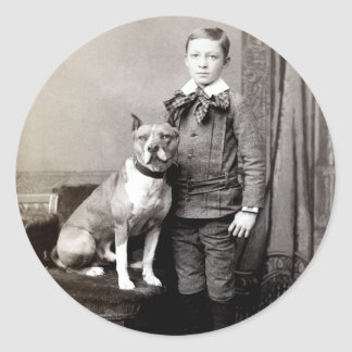 1890 Boy and his American Staffordshire Terrier Classic Round Sticker