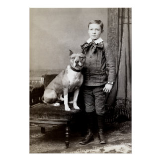 1890 Boy and his American Staffordshire Terrier Poster