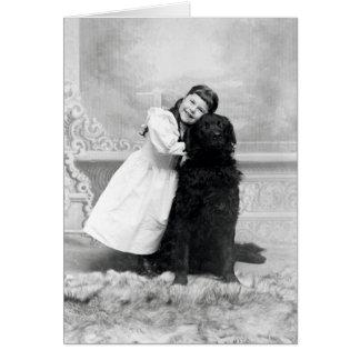 1890 chicas sonrientes y su perro del perro perdig felicitacion