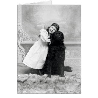 1890 chicas sonrientes y su perro del perro perdig tarjeta de felicitación