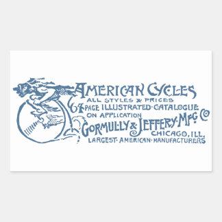 1890 ciclos americanos pegatina rectangular