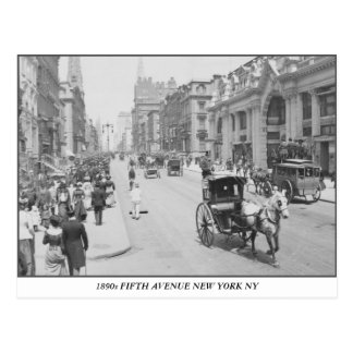 1890 Fifth Avenue New York vintage photo Postcard