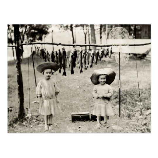 1890 Girls Fishing Postcard