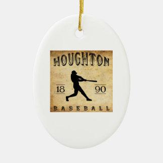 1890 Houghton Michigan Baseball Ceramic Ornament