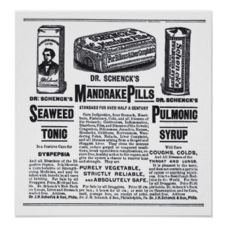 1890 medicines newspaper ad poster
