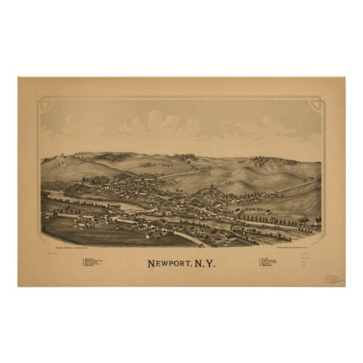 1890 Newport, NY Birds Eye View Panoramic Map Posters