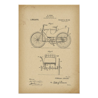 1890 Patent Bicycle side car Poster
