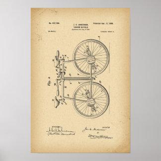 1890 Patent Bicycle Tandem Poster