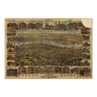 1890 Portland, OR Birds Eye View Panoramic Map Poster