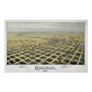 1890 Quanah, TX Birds Eye View Panoramic Map Poster