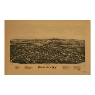 1890 Rhinebeck, NY Birds Eye View Panoramic Map Poster