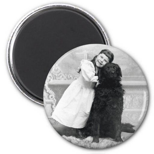 1890 Smiling girl and her Retriever Dog 2 Inch Round Magnet