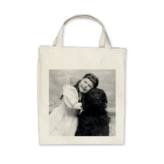 1890 Smiling girl and her Retriever Dog Tote Bag