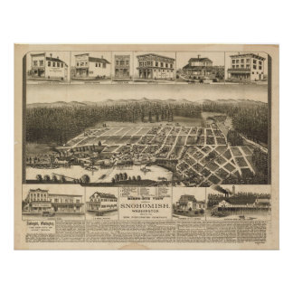 1890 Snohomish, WA Birds Eye View Panoramic Map Poster