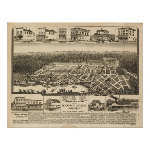 1890 Snohomish, WA Birds Eye View Panoramic Map Posters