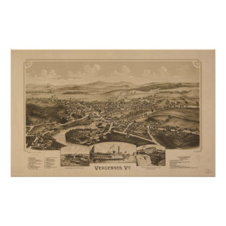 1890 Vergennes, VT Bird's Eye View Panoramic Map Print