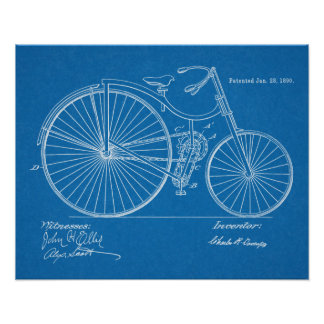 1890 Vintage Bicycle Patent Blueprint Art Print