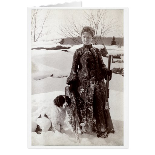 1890 Woman and her Brittany Hunting Dog Card