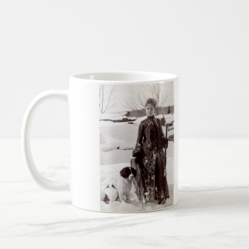 1890 Woman and her Brittany Hunting Dog Coffee Mug