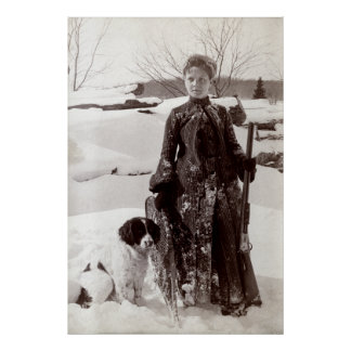 1890 Woman and her Brittany Hunting Dog Poster