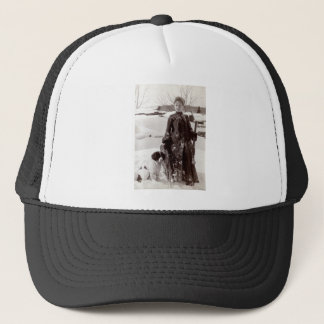 1890 Woman and her Brittany Hunting Dog Trucker Hat