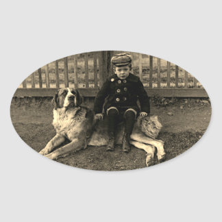 1890's Boy Sitting on St Bernard Dog Photograph Oval Sticker