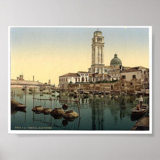1890's de Italia Venecia del vintage Póster