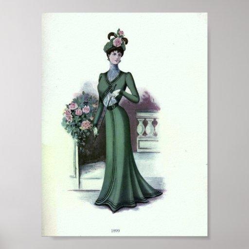 1890's de la moda de la vintage mujer impresiones